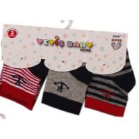 Набор (3 пары) тонких носочков Yetis Якорь Серо-красные для новорожденных мальчиков