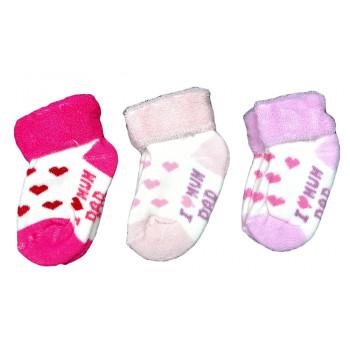 Махровые носочки новорожденным девочкам Люблю маму и папу