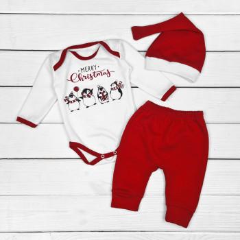 Новогодний комплект одежды Пингвинчики Футер 62  для малышей