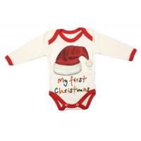"""Новогодние бодики для малышей """"First Christmas"""" 62 68 74 размеры Ткань футер"""