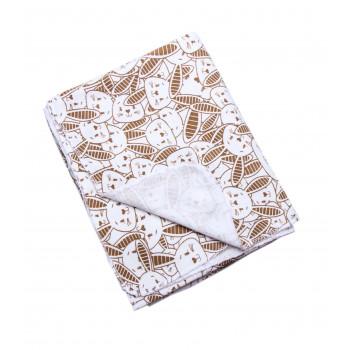 Пеленка байковая Зайчики Молочно-коричневая размер 90*100 см для новорожденных
