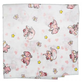 Ситцевая пеленка Розовый Слоник 90*100 см