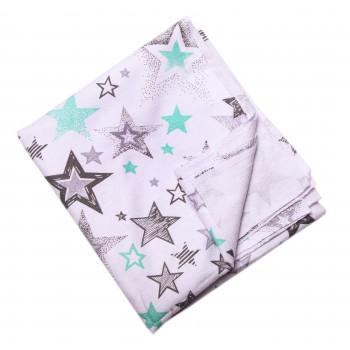 Байковая пеленка Звездочки Молочно-серая 90*100 см для новорожденных