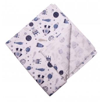 Байковая пеленка Космос Молочная с синим 90*100 см для новорожденных мальчиков