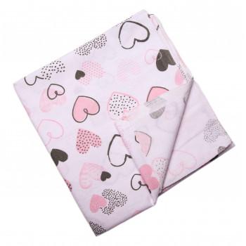 Байковая пеленка Сердечка Молочная с розовым 90*100 см для новорожденных девочек
