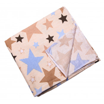 Байковая пеленка Бежевая Звездочки 90*100 см для новорожденных