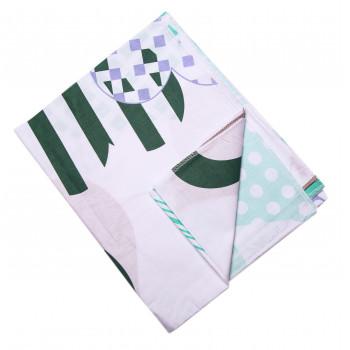 Ситцевая пеленка Бело-зеленая 90*110 см для новорожденных
