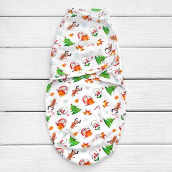 Новогодняя пеленка кокон на липучке теплая (футер) для новорожденных