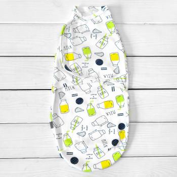 Пеленка кокон на липучке Milk Желтый Интерлок для новорожденных