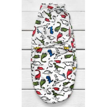 Пеленка кокон Дино на липучке Интерлок для новорожденных