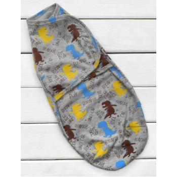 Пеленка кокон темно серая на липучках для новорожденных