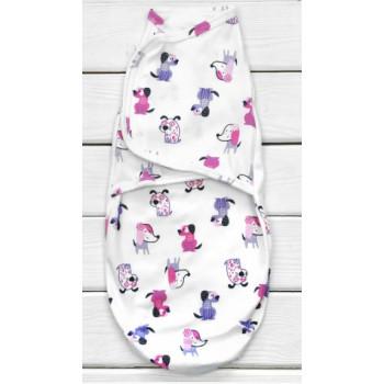 Пеленка кокон на липучке Собачки Интерлок для новорожденных