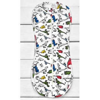 Пеленка кокон Дино на молнии Интерлок для новорожденных