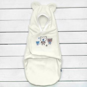 Флисовая пеленка кокон на липучках с ушками для новорожденных
