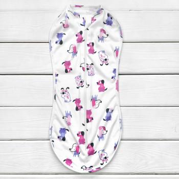 Пеленка кокон на молнии Собачки Интерлок для новорожденных девочек