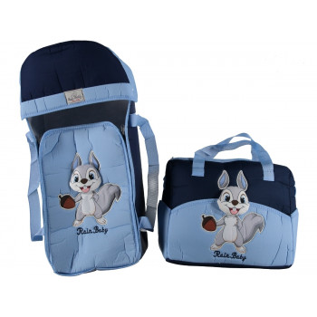 "Люлька переноска + сумка для для мальчиков ""Rain baby"" Белчонок Синий + голубой"