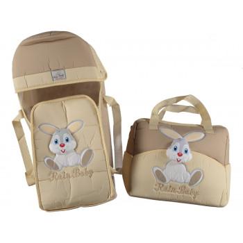 """Люлька переноска + сумка для для малышей """"Rain baby"""" Зайчик Кофейный"""