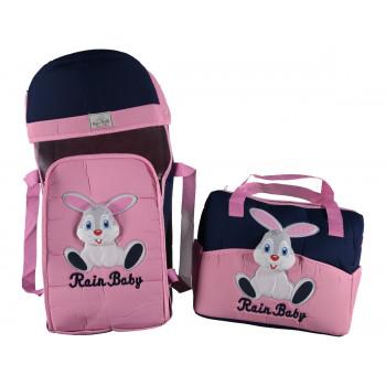 """Люлька переноска + сумка для для девочек """"Rain baby"""" Зайчик Синий с розовым"""