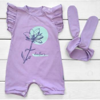 Летний песочник с повязкой Кулир Фиолетовый 86 размеры для девочек