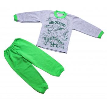 Теплая пижама 92 размера Начес Серо-салатовая на ребенка 1.5-2 года