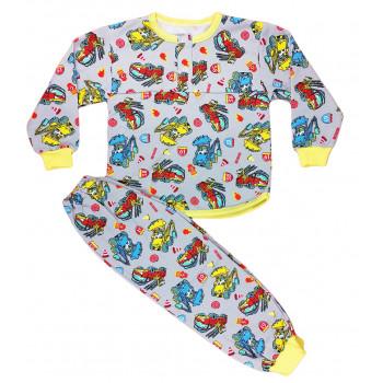 Теплая из байки пижама на мальчика 98 размера Пожарная машинка