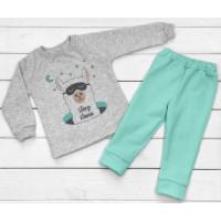 Детская теплая из футера пижама 86 122 размеры Sleep Lama