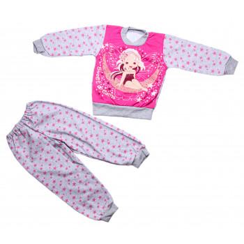 Теплая пижама Sweet dreams Серо-розовая 92 размера Начес на девочку 1.5-2 года