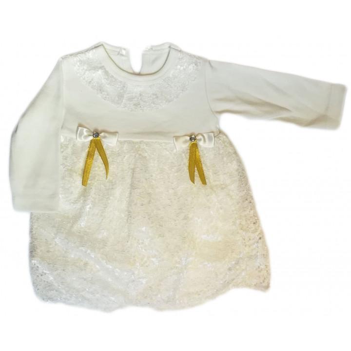 Нарядное детское платье на годик с длинным рукавом. Размер 74. Цвет - молочный