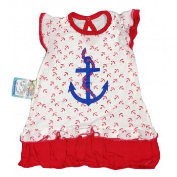 Летний красный сарафан на девочку 86 92 98 размеры Морячка