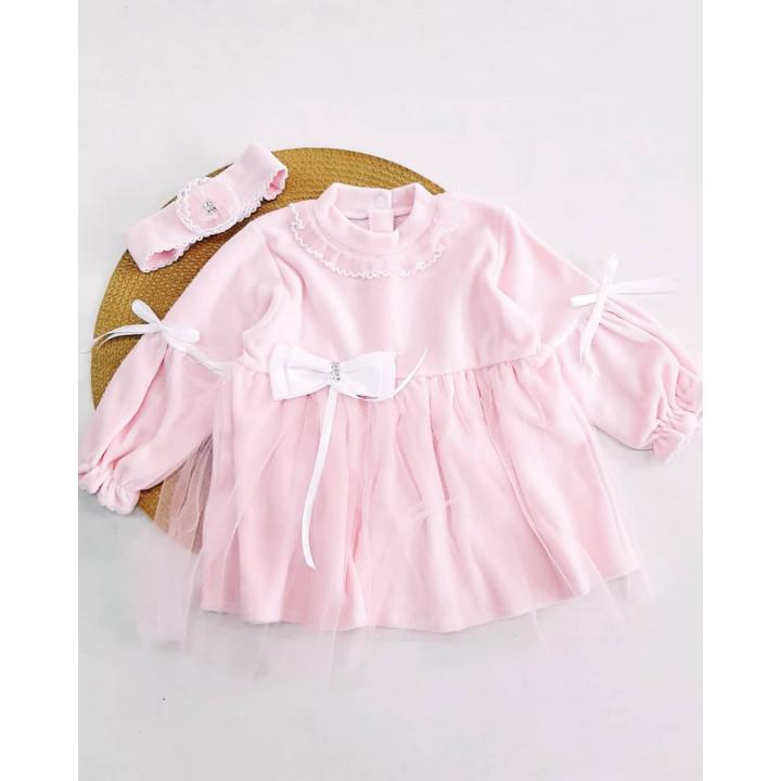 Детское велюровое платье с повязкой 74 размеры