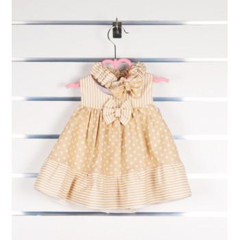 Летнее платье льняное Кофейное 80 размеры Без рукавов для девочек