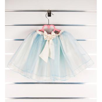 Голубая фатиновая юбка с бантиком на годик девочке