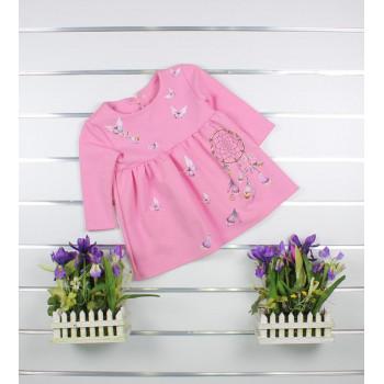 Платье Розовое с длинными рукавами 80 размер для девочек