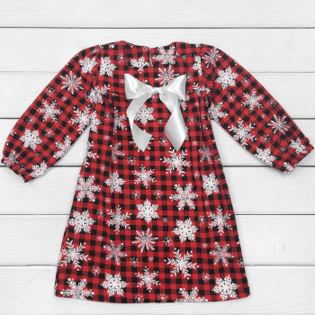 Теплое (футер) платье с длинным рукавом красное на девочку 2-3-4-5-6-7 лет 98 110 122 размеры Снежинка