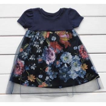Платье в цветочек Интерлок Синий 86 98 размеры для девочек