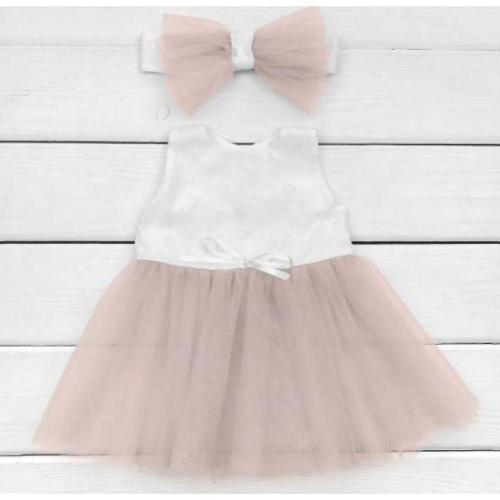 Платье с повязкой 74 размера на девочку от 6 месяцев