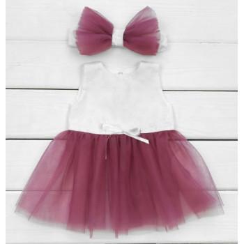 Комплект ясельный Платье+Повязочка кулир с фатином 62 размера