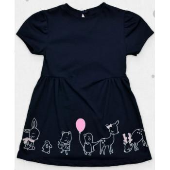 Летнее темно-синие платье с короткими рукавами, размеры 110 122 128