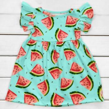 Детское летнее платье Арбузик Кулир Голубое 110 размеры