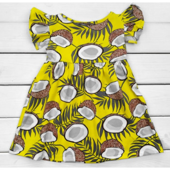 Детское летнее платье Кокосик Кулир Желтое 98 110 122 размер
