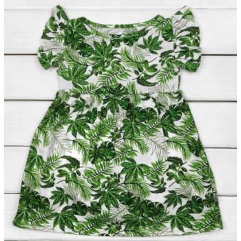Летнее платье Папоротник Кулир 98 110 122 размеры для девочек