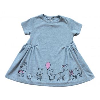 """Летнее детское серое платье """"Good Day"""" с короткими рукавами. Размеры: 86 98 110 122. Замеры в описании"""