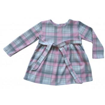 Детское платье с длинными рукавами и пояском в клеточку. Ткань интерлок пенье. Размеры 86 110 122