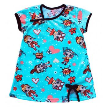 Детское бирюзовое платье с рисунком куклы Лол