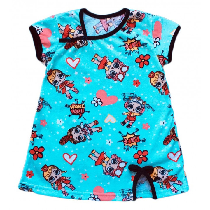 Детское бирюзовое платье с рисунком куклы Лол. Ткань кулир 100% хлопок. Размеры: 86 98 104