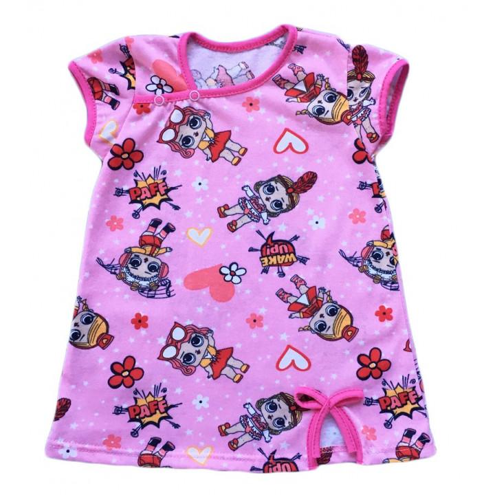Детское розовое платье в стиле Лол Ткань кулир 100% хлопок. Размеры: 86 98 116
