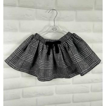 Детская юбка в клетку серая с бантиком на резинке
