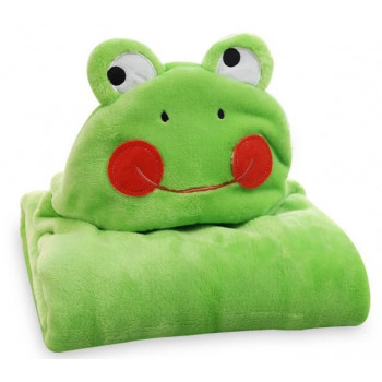 Детский игрушка плед с капюшоном зеленого цвета Жабка. Размер 76*102 см