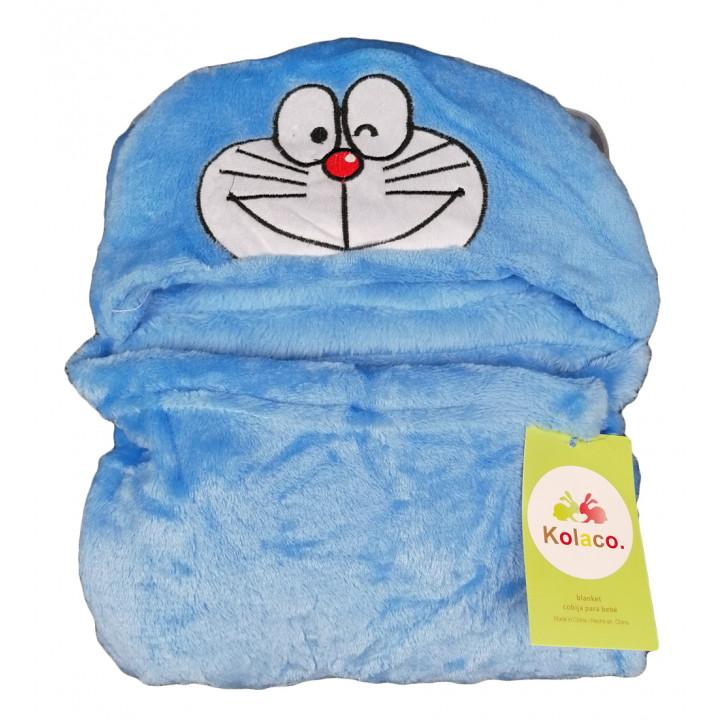Детский плед 78*102 см с капюшоном синего цвета Котик