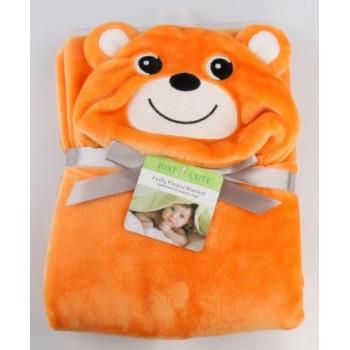 """Детское оранжевое плед с игрушечным капюшоном """"Мишка"""". Китай."""
